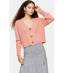coral cropped knitted cardigan - coral