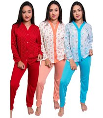 kit 3 pijama nj mix botão amamentação pós parto multicolorido