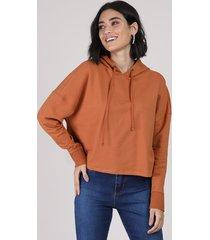 blusão feminino cropped em moletom com capuz cobre