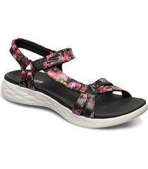 womens on-the-go 600 - fleur shoes summer shoes flat sandals svart skechers