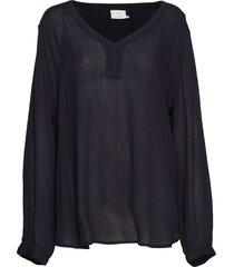 amber ls blouse blus långärmad svart kaffe