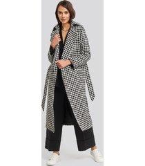 trendyol belt patterned stamp coat - black,white