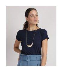 blusa feminina básica com botões manga curta decote redondo azul marinho