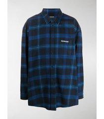 balenciaga logo-print check-pattern shirt