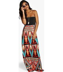 geo print bandeau maxi dress, multi