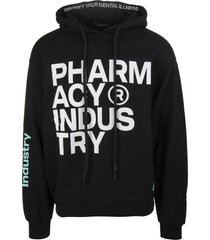 pharmacy industry black man hoodie with contrast logos