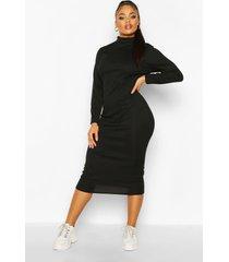 plus geribbelde gebreide midi jurk met col, zwart