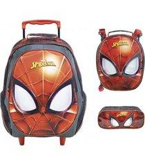 kit mochila xeryus homem aranha mascarado de rodinhas com lancheira e estojo