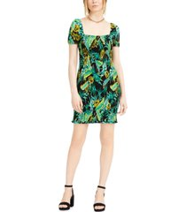 bar iii printed square-neck dress, created for macy's