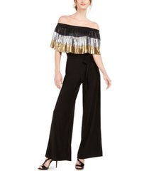 msk off-the-shoulder pleated metallic popover jumpsuit