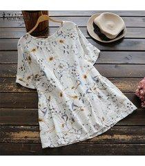 zanzea verano de las mujeres de cuello redondo floral holgada remata la camisa de la blusa de vacaciones t plus -blanco