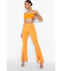 wijde crêpe broek met uitgesneden taille, orange