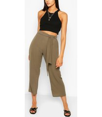 tall belted woven culottes, khaki