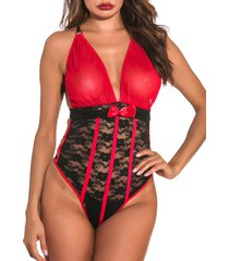 mesh and lace piping ring strappy teddy