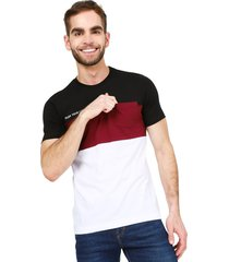 camiseta negro-blanco-vinotinto colore