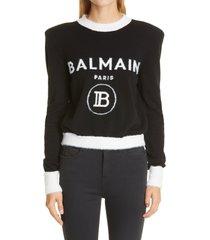 women's balmain intarsia logo crop sweater, size 10 us - black