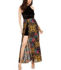 thalia sodi halter printed-overlay maxi dress, created for macy's