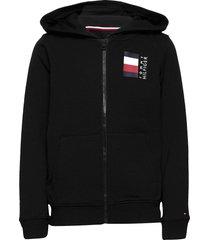 global stripe hooded zipthru hoodie trui zwart tommy hilfiger