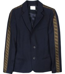 fendi navy wool blazer