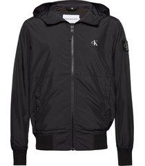 hooded blocking nylon jacket tunn jacka svart calvin klein jeans