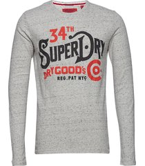 nyc goods co l/s tee t-shirts long-sleeved grå superdry