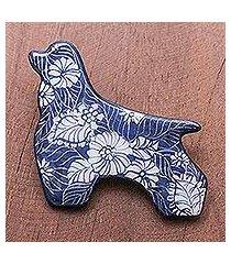 ceramic brooch pin, 'midnight cocker spaniel' (thailand)