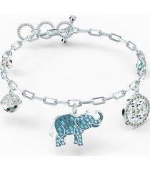 braccialetto swarovski symbolic elephant, multicolore chiaro, placcato rodio