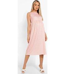 zwangerschap gesmokte gingham midi jurk met bandjes, coral