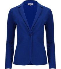 chaqueta tipo blazer unicolor color azul, talla m