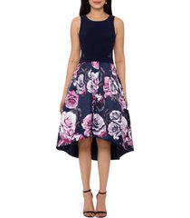 women's xscape floral high/low cocktail dress, size 4 - black