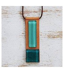art glass and leather pendant necklace, 'pieces of the sea' (brazil)
