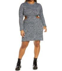 plus size women's afrm dove cutout long sleeve ribbed sweater dress, size 2x - black