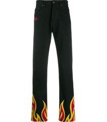 msgm flame print trousers - black