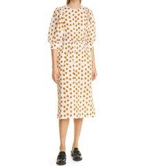 women's baum und pferdgarten alya dot print seersucker midi dress, size 2 us - orange