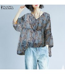 zanzea mujeres largo de la cascada de la manga tapas de la camisa de cuello v suelta la impresión floral de la blusa -azul