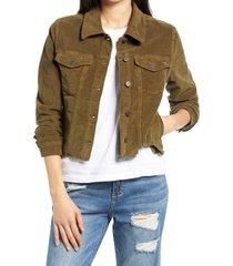 women's hidden jeans crop corduroy jacket, size large - green