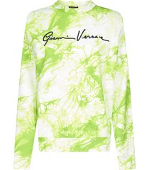 versace signature and tie-dye print cotton sweatshirt