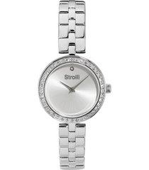 orologio solo tempo con cinturino e cassa in acciaio e strass, quadrante silver -1661129 per donna