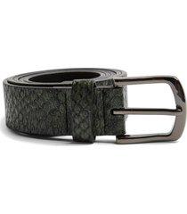 men's topman snakeskin print belt, size xx-small/x-small - khaki/olive