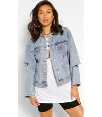 ripped detail jean jacket, mid blue