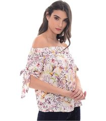 blusa para mujer en popelina multicolor estampado talla xxs
