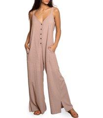 women's dra mandi check sleeveless jumpsuit, size small - brown