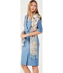 sukienka klasyczna z kopertowym dekoltem