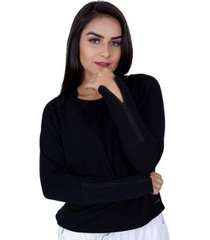 blusa manga comprida molecotton detalhe zíper orbis feminina - feminino
