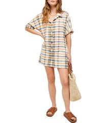women's free people felicity check romper, size large - beige