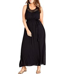 plus size women's city chic crochet tassel tie maxi dress, size x-small - black