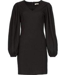 crãªpe jurk met pofmouwen venus  zwart