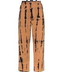 pronounce tie-dye straight leg trousers - black
