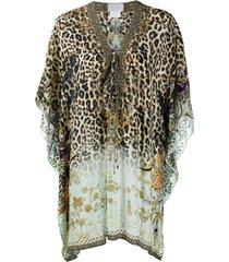 camilla leopard-print kaftan dress - neutrals