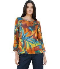 blouse amy vermont roest::petrol::geel